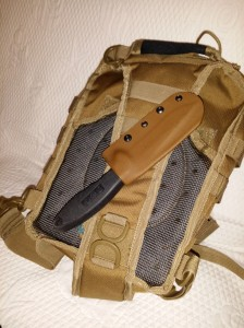 Here my SOG knife sports a tactical tan custom holster connected to my Bail-Out-Bag