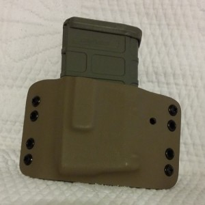 Here is my AR mag holder for 3 Gun showing off a Foliage 20 round Magpul magazine. The extra hole is my fault