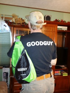 My GoodGuy t-shirt, sling bag, hat and Glock